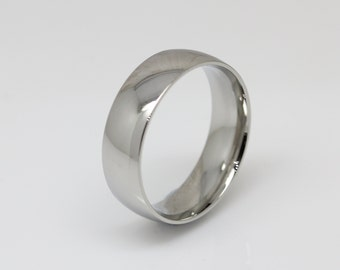 6mm wide Surgical Steel Comfort Fit / Court Shape Plain band Wedding Ring