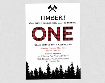 Lumberjack Birthday Invitation, Lumberjack First Birthday Party, Buffalo Plaid, Buffalo Check, Wilderness, Lumber Jack Invite, Winter Boy