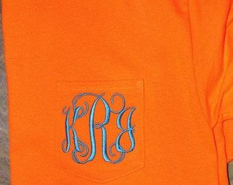 Neon Orange Monogrammed Pocketed Tees/Monogrammed Pocket Tees/Monogrammed Tees
