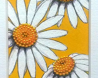 ACEO miniature mounted original Daisies on Yellow by Artichicks