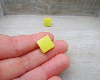 Square stud earrings Stainless steel posts, Geometric studs, Bright yellow studs