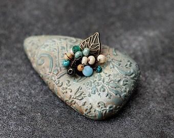 brooch made of polymer clay magic garden
