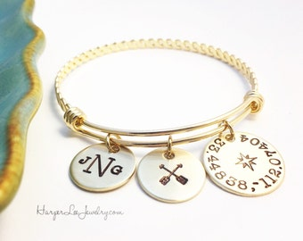 Wanderlust - Coordinates - Michigan Awesome Bangle Bracelet - Hand Stamped - Adjustable Bangle- Monogram Initial - HLJ