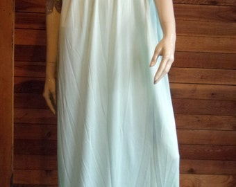 Vintage KATZ Blue Size Large Nightgown with Ivory Lace Trim