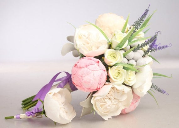 READY-TO-SHIP. Clay wedding bouquet and boutonniere set, Bridal bouquet, Peonies, Roses, Lavender, Brunia