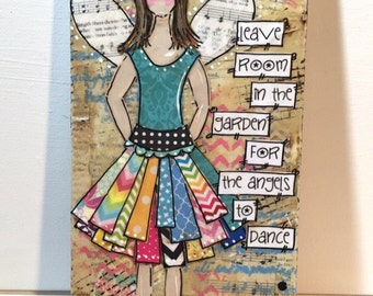 Angel Decor, Garden Angel Sign, Gardening Angel, mixed media canvas, inspirational art, whimsical art, angel art, she art, religious gifts