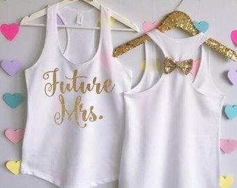 Future Mrs. Tank Top. Bride Tank. Bridal Tank. Future Mrs Bow Shirt. Bachelorette Tank. Bow Bachelorette Shirt. Bow Wedding Tank.