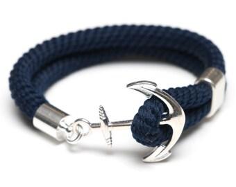 Nautical Rope Bracelet / Nautical Anchor Bracelet / Navy Blue Anchor Bracelet / Silver Anchor Bracelet / Nautical Jewelry / Nautical Gift