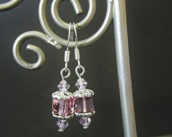 Swarovski Crystal Earrings - Pink Cube Bead Earrings - Sterling Silver Beaded Dangle Earrings - Handmade Jewelry Gifts for Her
