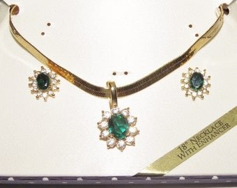 Emerald Green Necklace & Earrings Jewelry Set Gold Filled CZ