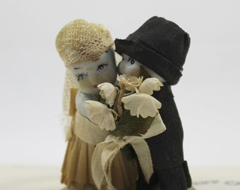 1930s Small Bisque Kewpie Bride and Groom Wedding Cake Topper, Vintage Bisque Figures Bride and Groom