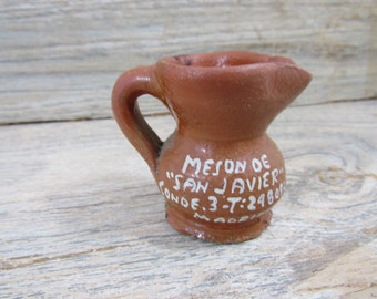 Vintage Souvenir Pitcher Miniature Pitcher Jug Madrid Terra Cotta Toothpick Holder European Pottery