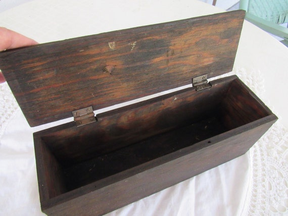 Antique Primitive Wooden Box With Lid Tool Box