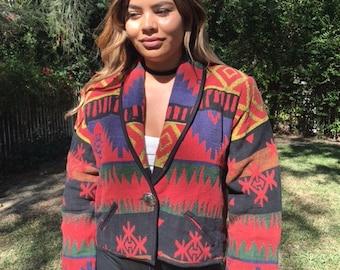 Blanket coat, Indian tapestry coat, jacket, large, red, green, blue