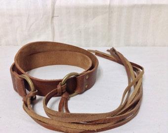 Free Ship Leather Boho Wrap Belt Fringed