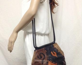 Sharif,Leather Purse,bag,1980s, 80s ,Shoulder Bag, Black ,Brown, Red,Sharif USA ,bags,purses