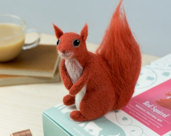 Red Squirrel Needle Felting Kit - Red Squirrel Craft Kit - craft kit gift - felt squirrel project - squirrel craft kit for adults