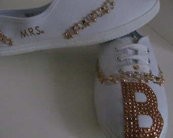 Bridal sneakers, wedding shoes, bridal shoes,bronze bridal sneakers,  rhinestone sneakers, bridesmaid sneakers bling sneakers  dance shoes