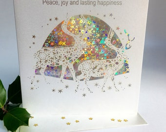 Christmas Card Laser Cut Delicate Cut Stags Quality Heavy Board with Foiled Insert Christmas Trees Forest christmas Sparkle (3642)