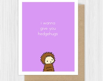 Thinking of You Card For Friend Her Him Cute Hedgehog Encouragement Sympathy Sorry Love Just Because Get Well Pun Handmade Greeting Cards
