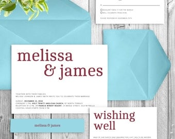 Wedding Invitation Suite with Large Names in Deep Red and Sky Blue