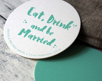 10 x Wedding Coasters, Circle Round Coasters, Personalized Decor, Eat, Drink and Be Married, Blue Reception Decor, Double-sided Coasters