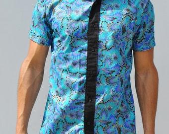 Metallic Kaleidoscope Short Sleeve Button-Up Shirt