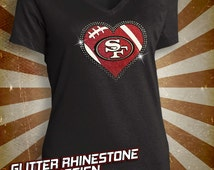 San Francisco 49ers Rhinestone Glitter Bling T-shirt - Ladies Vneck