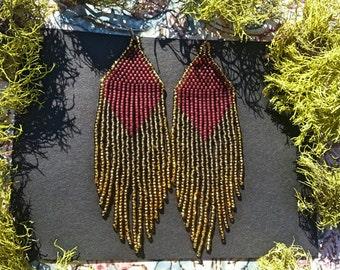 Golden Dawn (Burgundy)...Beaded Fringe Earrings