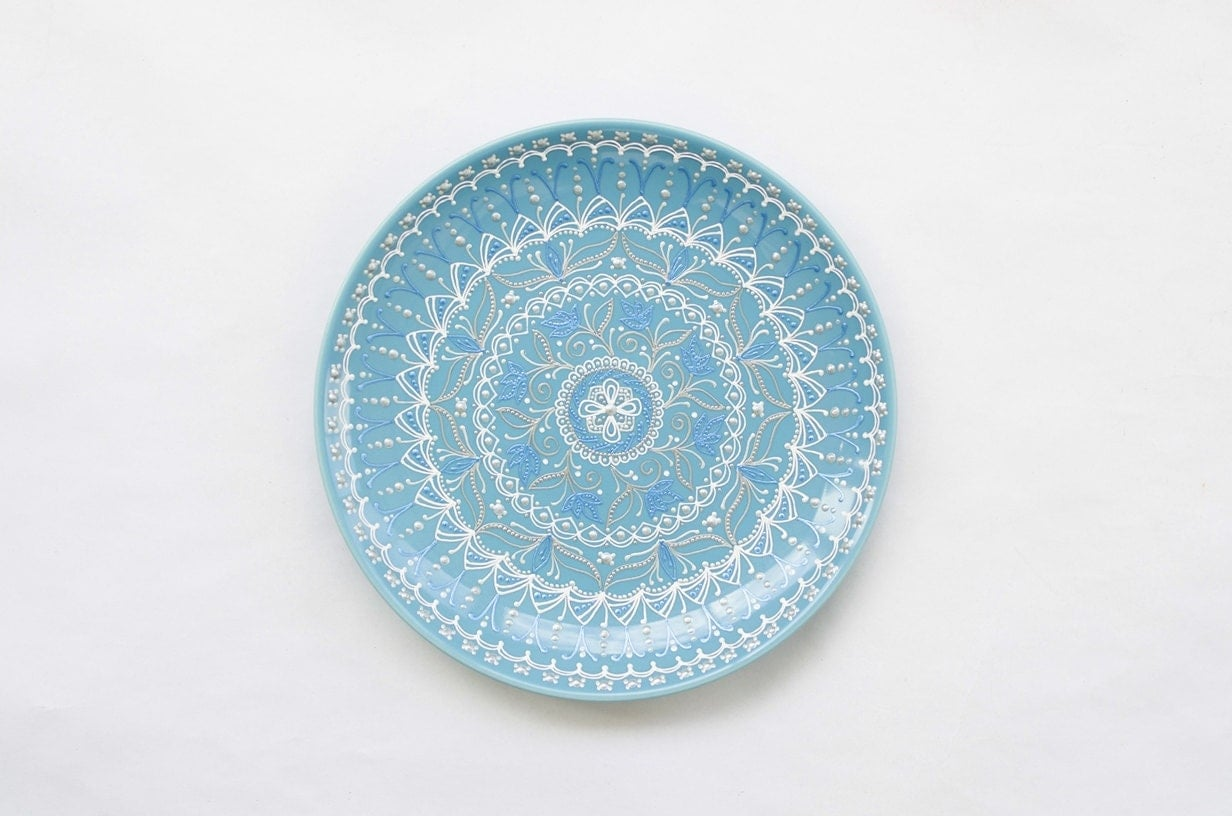 Blue decorative plate wall hangings winter by lekaart