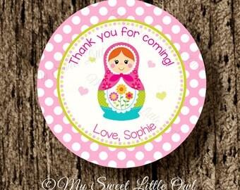 Matryoshka label - Matryoshka birthday - Matryoshka baby shower - Matryoshka tag - Matryoshka sticker - pink Matryoshka printable