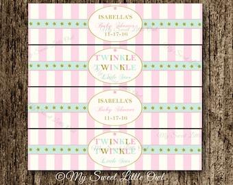Twinkle twinkle water labels - twinkle birthday - star printable - gold pink  twinkle twinkle - pink twinkle label - gold star water label