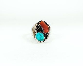 Vintage Native American Turquoise and Coral Sterling Silver Ring
