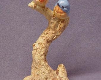 Handmade Ceramic Blue Love Birds on a Tree - Bird Sculpture, Bird Figurine, Blue Bird, Wedding