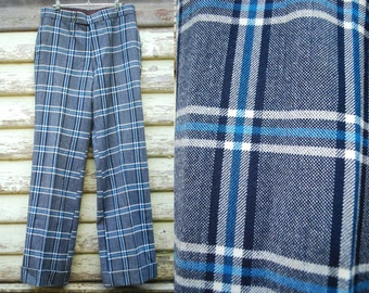 Plaid Flares 70s Vintage Mens Wool Trousers Retro Checkered Flared Pants 1970s Vtg Size S-M