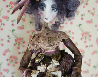Clay cold porcelain- Art doll handmade- Rebecca- victorienne