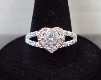 Silver Plated CZ Halo Heart Ring (Size 8)