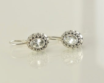 Sterling Silver CZ Clip On Earrings