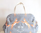 Fox Big Diaper Nappy bag  / eco canvas and faux leather / Playful Foxes /big versatile and practical bag/ baby bag/ weekender/ travel bag