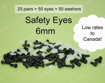 6mm Black safety eyes - 25 pairs, eyes for stuffed toys and animals, animal eyes, doll eyes, plastic eyes