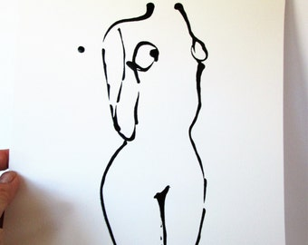 "ORIGINAL Acrylic Painting, Minimalist Painting, Female Figure, 185g Canson Paper ""Minimal Curves"""