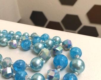 Sky Blue Crystal 3 Tier Necklace