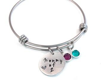 Birthstone Mommy Expandable Bangle, Mother's Bracelet, Mommy Jewelry, Adjustable Bangle, Expandable Bracelet