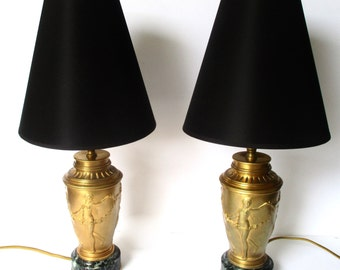 Pair of 19th Century French Neoclassical  19-Inch Table Lamps of Bronze & Marble
