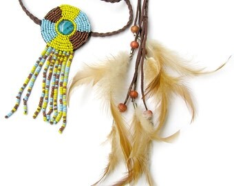 Hippie Feather Headband, Native American Headband, Indian Feather Headpiece, Bohemian Feather Headband, Tribal, Music Concert, Belt Armband