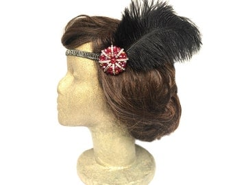 Black and Red Flapper Headband, Great Gatsby Headpiece, Feather Fascinator, 20s Headpiece, Gatsby Clothing, Costume Hair Accessories