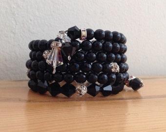 Black Onyx Bracelet with Swarovski Crystals