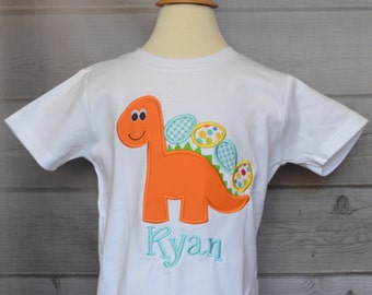 Personalized Easter Dinosaur with Egg Applique Shirt or Onesie Girl or Boy
