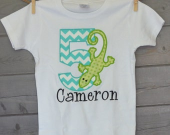 Personalized Birthday Lizard Applique Shirt or Onesie Girl or Boy