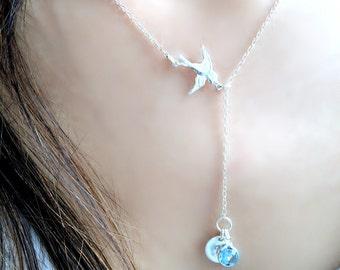 Swallow Lariat Necklace Initial Lariat Swarovski Birthstone Lariat Personalized Lariat Aquamarine Birthstone march birthstone letter jewelry
